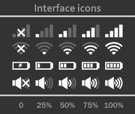 Interface icons set. Status signal battery icon set . White and gray colors. Rounded corners. Phone set graphic Royalty Free Stock Image