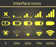 Interface icons set. Status signal battery icon set . White and gray colors. Rounded corners. Phone set graphic Royalty Free Stock Photography