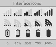 Interface icons set. Status signal battery icon set . White and gray colors. Rounded corners. Phone set graphic Stock Photography