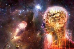 Interface intelligente artificielle humaine d'or moderne de résumé artistique à un bel arrière-plan doux multicolore de galaxie