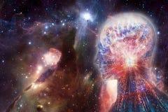 Interface intelligente artificielle humaine de résumé moderne artistique au bel arrière-plan doux multicolore de galaxie