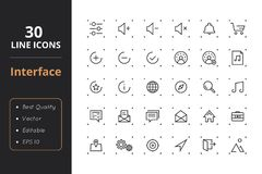 30 Interface Line Icons. High quality interface line icons. Icons for user interfaces and web Stock Photo
