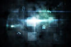 Interface noire de technologie avec la lueur Images libres de droits
