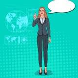 Interface olographe d'Art Business Woman Using Virtual de bruit Écran tactile futuriste de technologie Illustration Stock