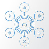 Interface Outline Icons Set. Collection Of Audio, Chart, Cloud And Other Elements. Also Includes Symbols Such As Button. Interface Outline Icons Set. Collection Royalty Free Stock Images