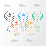 Interface Outline Icons Set. Collection Of Stabilizer Stock Photos