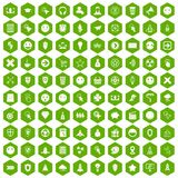 100 interface pictogram icons hexagon green. 100 interface pictogram icons set in green hexagon isolated vector illustration Stock Photography