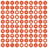 100 interface pictogram icons hexagon orange. 100 interface pictogram icons set in orange hexagon isolated vector illustration Royalty Free Stock Image