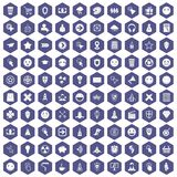 100 interface pictogram icons hexagon purple. 100 interface pictogram icons set in purple hexagon isolated vector illustration stock illustration