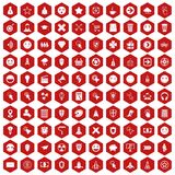 100 interface pictogram icons hexagon red Stock Image