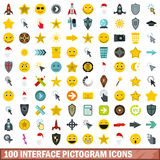 100 interface pictogram icons set, flat style. 100 interface pictogram icons set in flat style for any design vector illustration Stock Photo