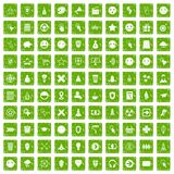 100 interface pictogram icons set grunge green Stock Photos