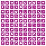 100 interface pictogram icons set grunge pink. 100 interface pictogram icons set in grunge style pink color isolated on white background vector illustration Stock Photography