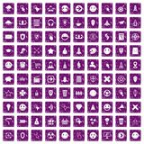 100 interface pictogram icons set grunge purple. 100 interface pictogram icons set in grunge style purple color isolated on white background vector illustration Vector Illustration