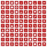 100 interface pictogram icons set grunge red. 100 interface pictogram icons set in grunge style red color isolated on white background vector illustration Royalty Free Stock Images
