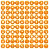 100 interface pictogram icons set orange. 100 interface pictogram icons set in orange circle isolated vector illustration royalty free illustration
