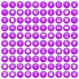 100 interface pictogram icons set purple. 100 interface pictogram icons set in purple circle isolated vector illustration royalty free illustration