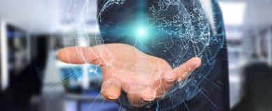 Interface réseau de la terre de vol activée par le rende de l'homme d'affaires 3D Image stock