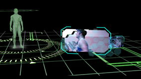 Interface with revolving human body showing various gym clips stock video