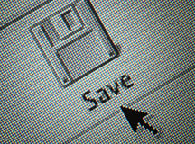 Interface save button and an arrow mouse c Stock Photos