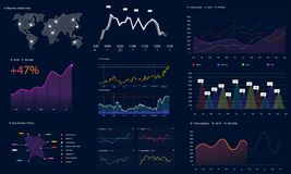 Interface screen with data infographic, HUD style royalty free illustration