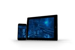 Interface on tablet and smartphone screens Royalty Free Stock Images