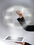 Interface and Tablet. Tablet interface and used by a woman Royalty Free Stock Images