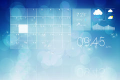 Interface with time weather and calender Royalty Free Stock Photo