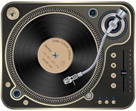Interface Turntables on Whete Background. Vector illustration of modern gold turntable with a plate on a white background Royalty Free Stock Image