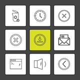 interface utilisateurs, boutons, application, multimédia, icônes d'ENV illustration stock