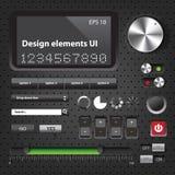 Interface utilisateurs foncée d'éléments de conception Photo libre de droits