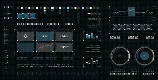 Interface utilisateurs futuriste Ensemble d'éléments d'écran de vaisseau spatial Affichage d'Infographic Écran tactile foncé de g Photographie stock