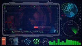Interface utilisateurs graphique virtuelle bleue futuriste de contact HUD Images libres de droits