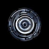 Interface utilisateurs graphique virtuelle bleue futuriste de contact HUD au-dessus de noir photos stock
