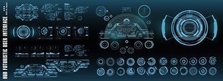 Interface utilisateurs graphique virtuelle futuriste de contact de HUD, cible Écran de technologie de réalité virtuelle d'afficha illustration libre de droits