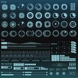 Interface utilisateurs graphique virtuelle noire et blanche futuriste de contact HUD Image stock