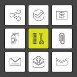 interface utilisateurs, icônes d'application, messages, livres, icône d'ENV illustration stock