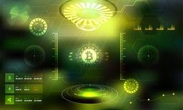 Interface utilisateurs marchande de la science fiction de Bitcoin HUD Background Cryptocurre illustration libre de droits