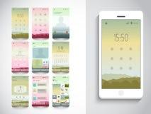 Interface utilisateurs mobile avec différentes dispositions d'application Photo libre de droits