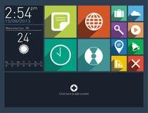 Interface utilisateurs plate avec de longues icônes d'ombre Photographie stock libre de droits