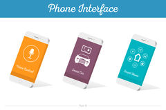 Interface Vector 3D Smartphone Models with Media Symbols Stock Photo
