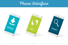 Interface Vector 3D Smartphone Models with Media Symbols. Interface  3D smartphone with software, applications, and ways to connect portable gadgets and devices Royalty Free Stock Photos