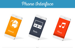 Interface Vector 3D Smartphone Models with Media Symbols. Interface  3D smartphone with software, applications, and ways to connect portable gadgets and devices Stock Photos