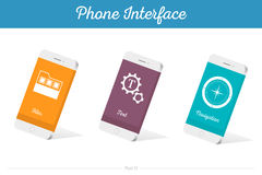 Interface Vector 3D Smartphone Models with Media Symbols. Interface  3D smartphone with software, applications, and ways to connect portable gadgets and devices Royalty Free Stock Photo