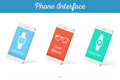 Interface Vector 3D Smartphone Models with Media Symbols. Interface  3D smartphone with software, applications, and ways to connect portable gadgets and devices Stock Photography