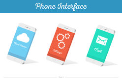 Interface Vector 3D Smartphone Models with Media Symbols. Interface  3D smartphone with software, applications, and ways to connect portable gadgets and devices Royalty Free Stock Images