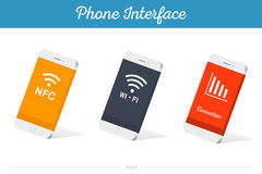 Interface Vector 3D Smartphone Models with Media Symbols. Interface  3D smartphone with software, applications, and ways to connect portable gadgets and devices Royalty Free Stock Image