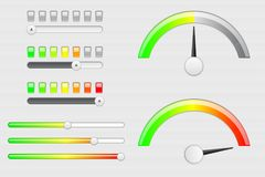 Interface web elements. Internet sliders, volume level bars and measurement scales. Vector 3d illustration Stock Image