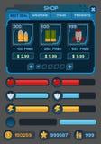 Interfaceknopen die voor ruimtespelen worden geplaatst of apps stock illustratie