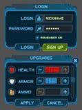 Interfaceknopen die voor ruimtespelen worden geplaatst of apps